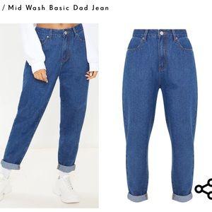 PrettyLittleThing Mid Wash Basic Dad Jean Size 12